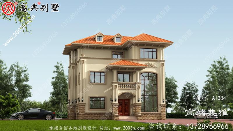 复式欧式三层农村建筑的设计和效果图造价约30万元。