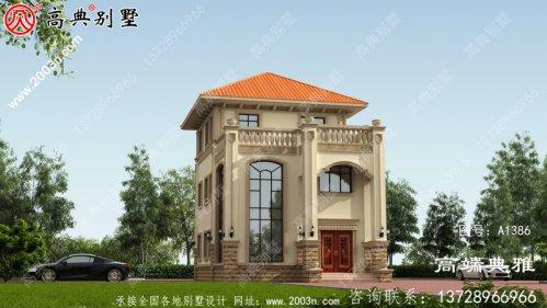乡村三层带阳台、带停车位房屋设计图,含外型
