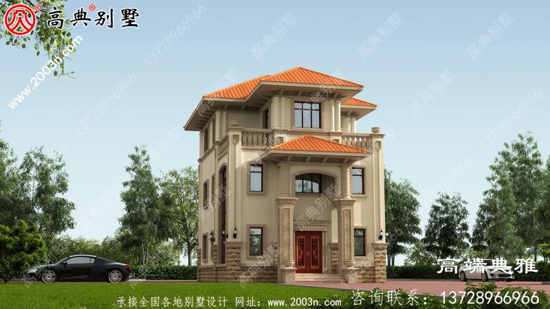 带有露台的农村三层住宅设计,包括外观图片