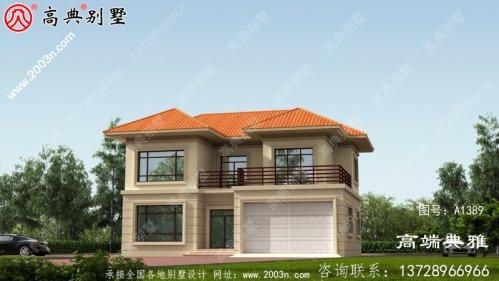 农村二楼有露台,有车库房屋设计图,包括外观