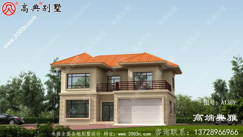农村二楼有露台,有车库房屋设计图,包括外观照片