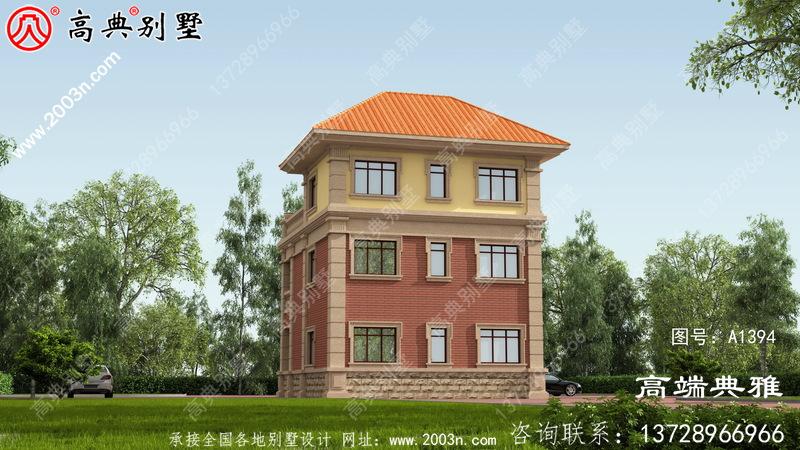 带复式大厅的农村三层别墅设计图,包括效果图