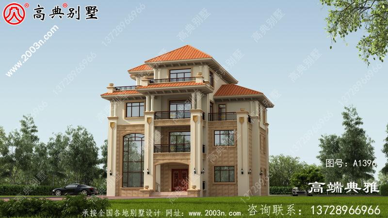 大户型新农村住宅四层简易设计图占地168平