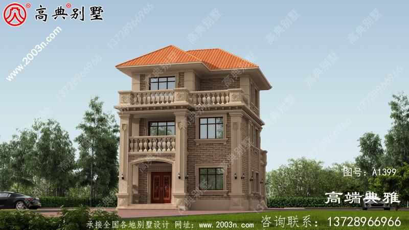 带阳台的欧式三层楼别墅设计图纸及效果图