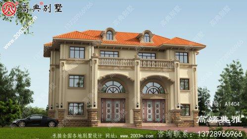 三层农村房屋设计图纸,客厅空洞,有大窗户