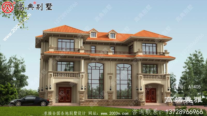 设计方案的三层农村别墅图纸,带停车位,带阳台