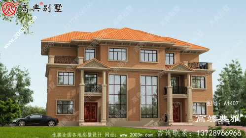双拼设计的三楼农村别墅图纸,带车库,带阳台