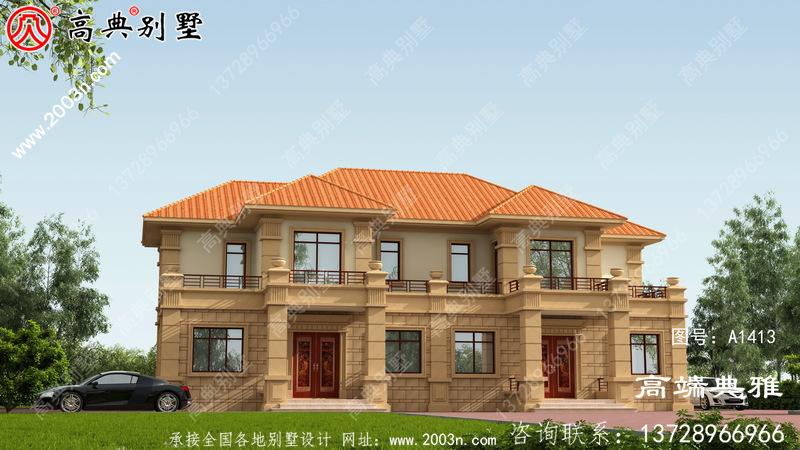 双拼两层欧式别墅设计图,制造经济,施工简单