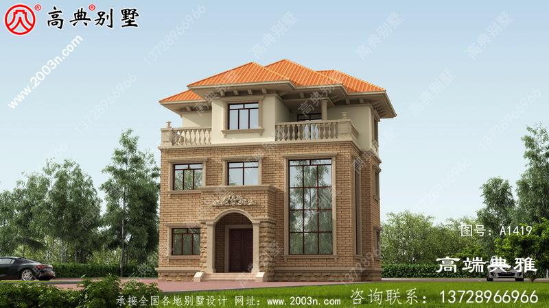 占地97平方小户型欧式三层别墅外观设计效果图。