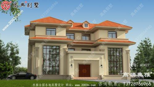 三楼双拼别墅住宅设计图(包括外观效果图)