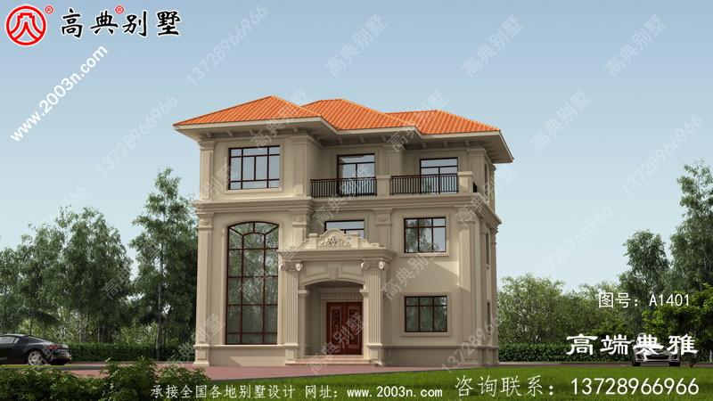 三层简欧别墅设计图纸,欧式古典带外型设计效果图