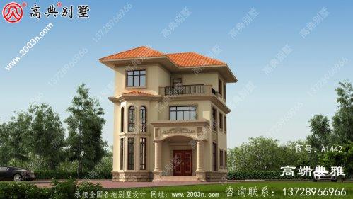 95平方米三层别墅设计图纸,欧式外观效果图