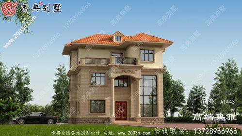 104平方米三层别墅设计图,欧式带外观效果图