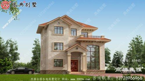 新农村欧式三层住宅的设计图纸外观简洁大方。