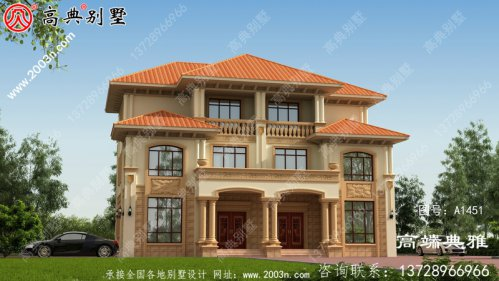 别墅类型为三层住宅,占地约203平方米。