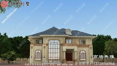 二层简欧复式别墅设计图纸_农村二层别墅设计