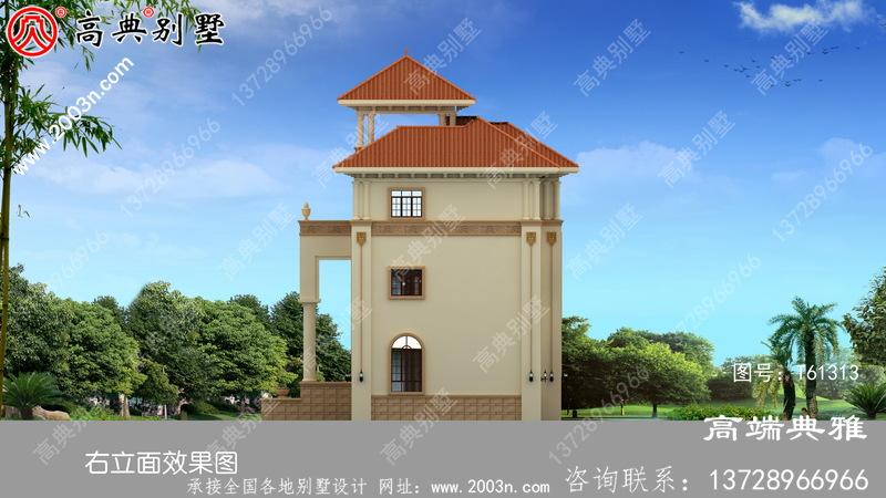 复式三层简欧风别墅设计图纸_农村三层别墅设计