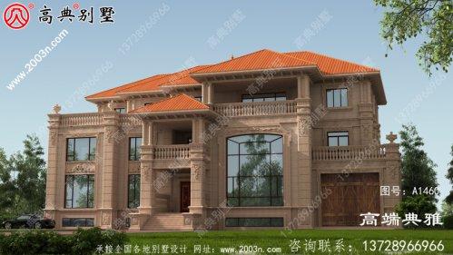 129平方米大户型欧式三层别墅设计效果图带车库