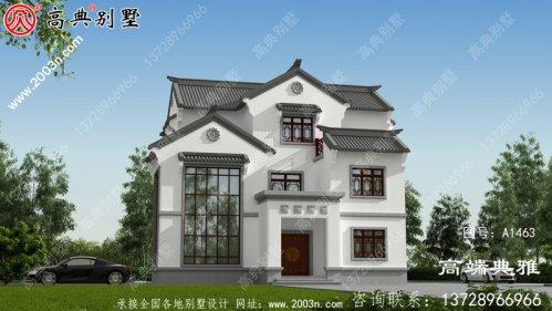 实用中式三层住宅设计图纸、效果图+全套施工图