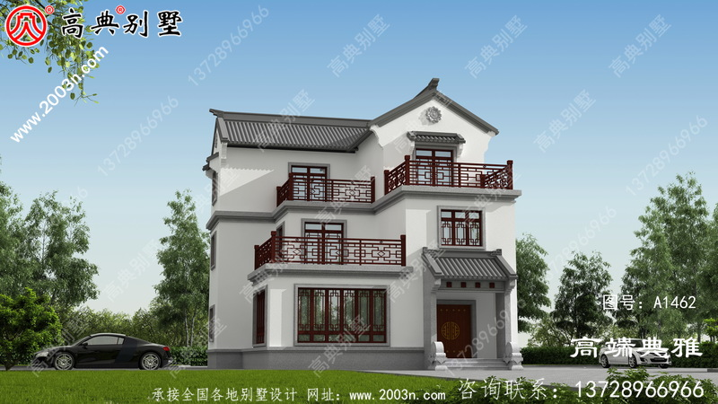 中式三层房屋设计图纸,设计效果图+整套施工图纸