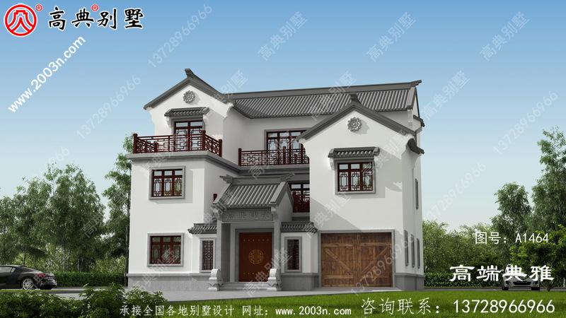 带露台的中式三层住宅设计图纸,效果图+施工图一套