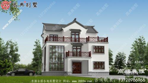 中式简约三层别墅设计图纸和设计效果图,乡村