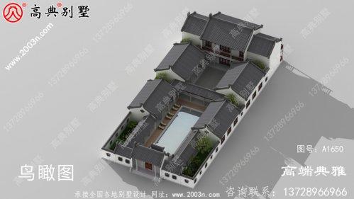 四合院别墅设计图纸,美观大方占地1384平方米