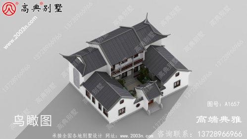 中式两层别墅楼内楼层结构,外观