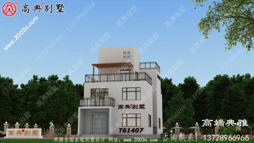 现代三层带阳台小别墅图纸及效果图_农村三层自