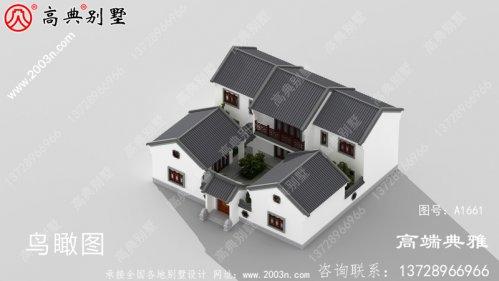 带院子的新中式两层别墅外观设计效果图