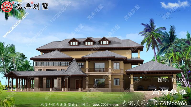 东南亚风格三层别墅设计全套图纸_三层别墅设计图纸