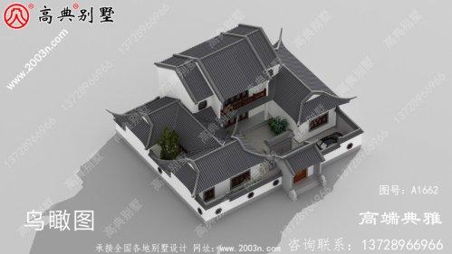 中式双层楼房设计图,占地面积224平方米,房型