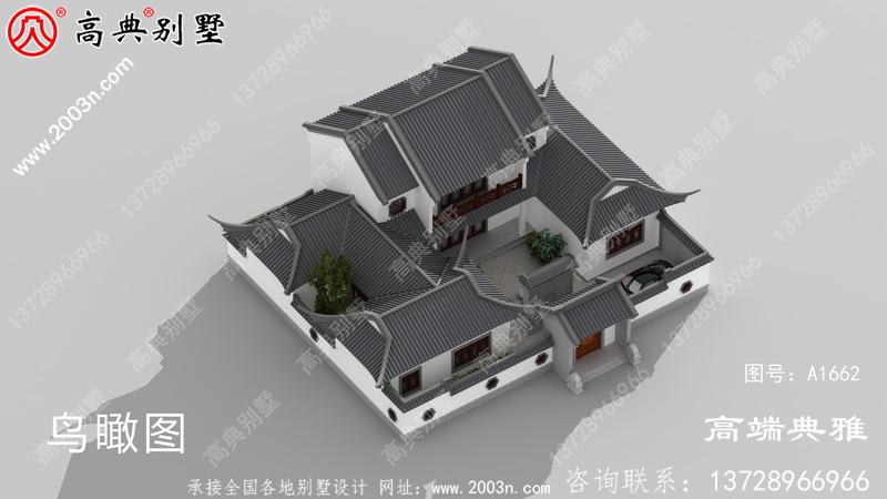 中式双层楼房设计图,占地面积224平方米,房型简易好用
