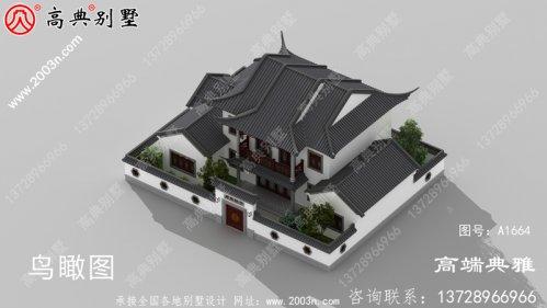 带庭院的大户型中式两层建筑设别墅,占地211平
