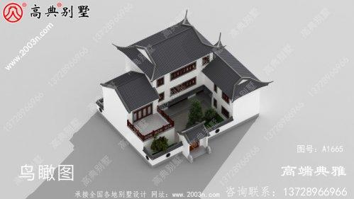 乡村中式三层别墅带阳台房屋设计图,含外型照
