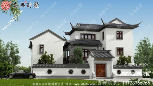 带有露台和庭院的农村三层住宅设计,包括外观