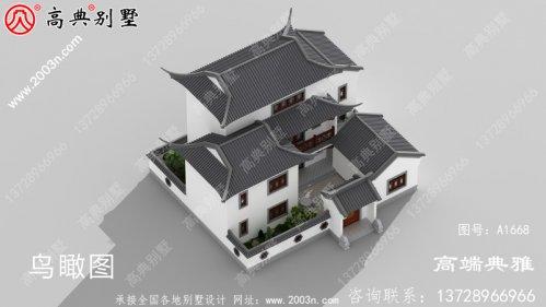 农村自建中式三楼别墅有露台带庭