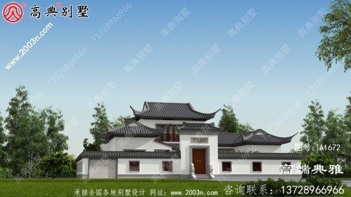 中式二层别墅设计工程图纸,设在乡村就是说一
