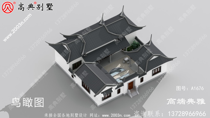 单层中式别墅设计图,建在农村就是风景