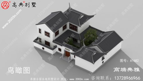 大户型中式二层别墅外观设计效果图,户型实用