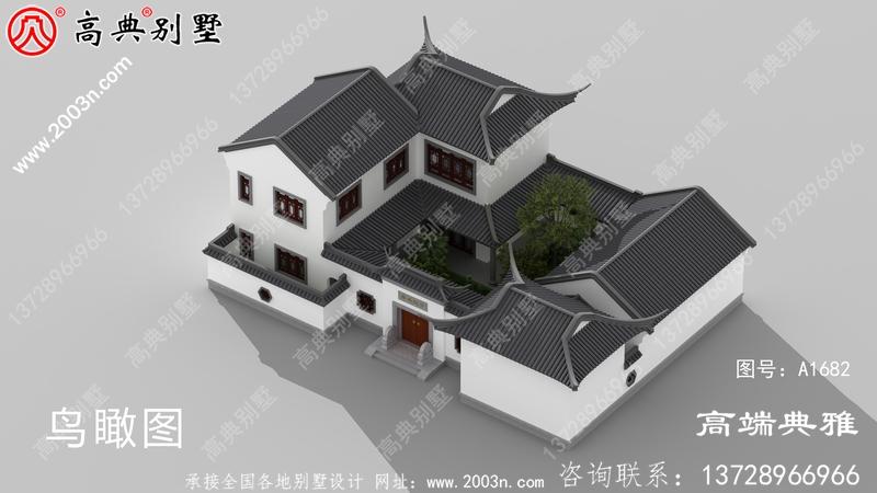 大户型中式二层别墅外观设计效果图,户型实用舒适