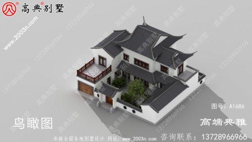 农村中式住宅的设计图带庭院,别墅造型结构精