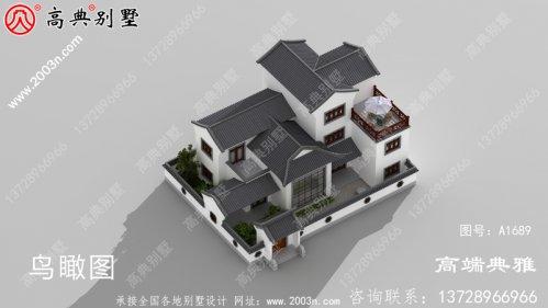 新农村中式庭院三楼别墅设计图,外观效果图优