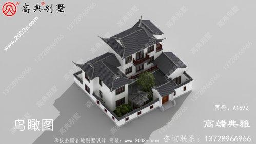 南方新中式农村三层别墅设计图纸,含效果图