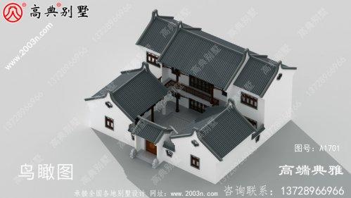 二层中式别墅自建房设计图,造型设计时尚潮流