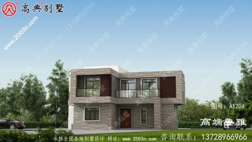 简洁干净的现代二层别墅设计外观效果图