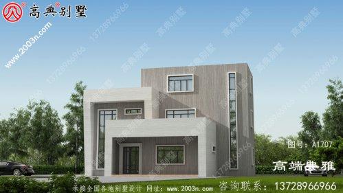 自建造的二楼别墅设计流畅,外观独特。