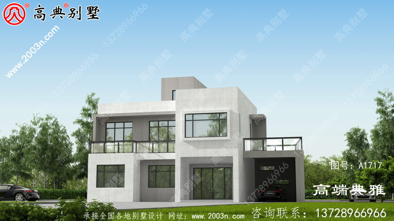 自营住宅二层别墅的设计图,外观光滑独特