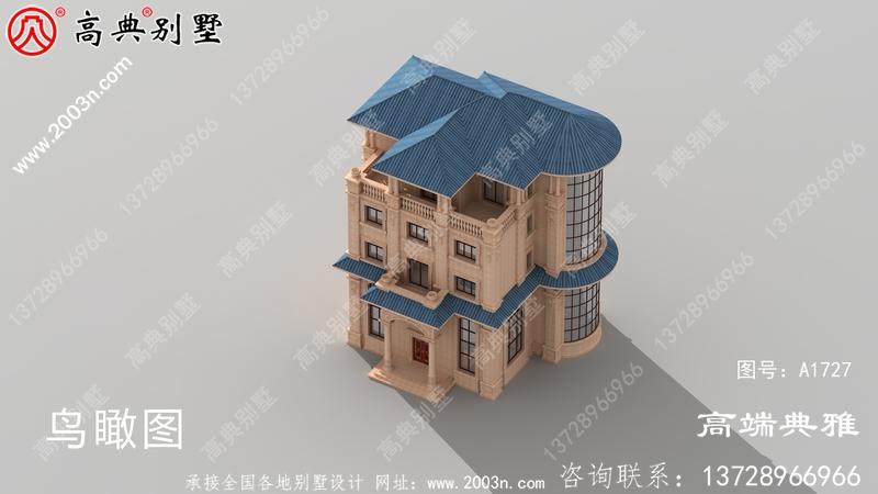 五层别墅的设计图和效果图展示了清新独特的立面。
