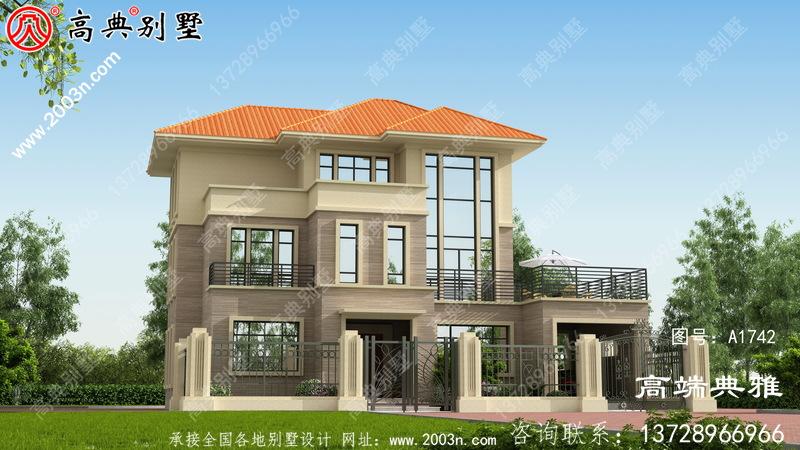 三层复式别墅房屋设计图,带外型设计效果图